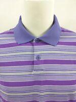 Nike DRI-FIT Tour Performance Purple Striped Golf Polo Shirt Size XL