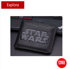 Boys Girls Kids Teenage Biofold Faux Leather Black Wallet -- Star War Logo