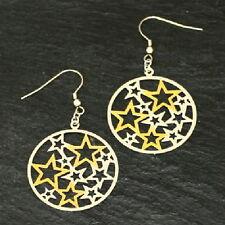 Titanium Ohrhänger Kreolen Ohrringe Titan Damen Sterne Silber Gold vergolde 58