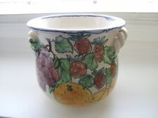 Hand Painted Fruit/Berries & Grapes –Ceramic Pot, Cream/Red/Blue Twist Monicats