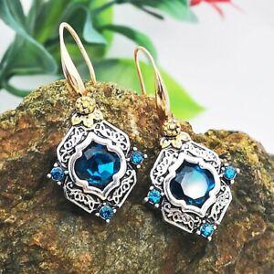925 Silver Turquoise Crystal Earrings Pearl Ear Hook Dangle Drop Gift Jewelry