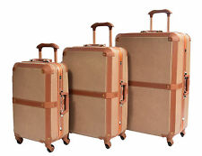4 Wheel Retro Vintage Style Metal Frame Suitcase PC Hardshell Travel Luggage Full Set 3 Sizes