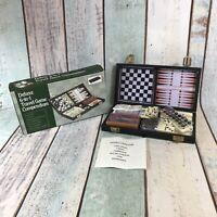 Deluxe 6 In 1 Travel Game Compendium Padded Case -Backgammon-Cribbage-Chess,14cm