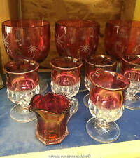 Red and Crystal Barware Gobletts and Wine Glasses