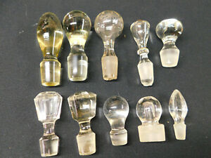Antique Vintage LOT of 10 Ground Glass Crystal Decanter Perfume STOPPERS Large