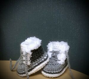 HANDMADE CROCHET BABY FIRST SHOES CASUAL BABY BOOTS SLIPPERS UNISEX
