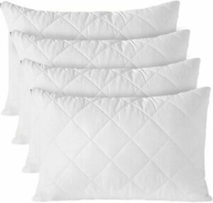 Waterproof Quilted Pillow Protectors 100% Cotton Zipped Pillows Covers Pack of 4