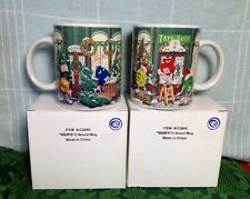 PAIR, M&M HOLIDAY CHRISTMAS MUGS, 11.5 OZ. CUPS, TREE TRIMMING, SHOP, NEW IN BOX