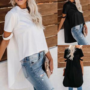 Damen Chiffon Sommer T-Shirt Freizeit Rundhals Bluse Oberteile Tops Asymmetrisch