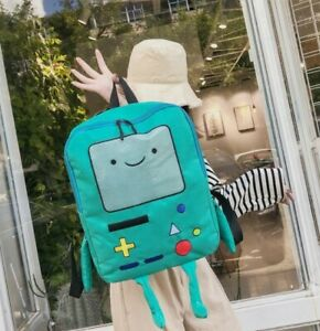 Ladies Canvas Backpack Anime Adventure Time Beemo BMO Kawaii Book Bag Backpack