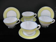 CASSIS & CO Cups & Saucers Set of 4 Blue & Yellow   Large   France  Coffee Tea