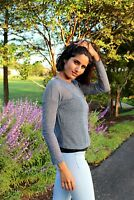Loose Knit Long Sleeve Top Navy Small