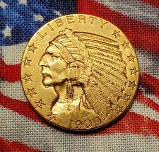 1909 $5 Key Date Indian Head Five Dollar Half Eagle American Gold Coin AU+/BU MS