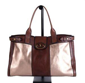 Fossil Vintage VRI Reissue XL Brown Leather Rose Gold Weekender Tote Bag