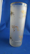 ancien vase en verre  decor doré emaillé de fleurettes givré vers 1940