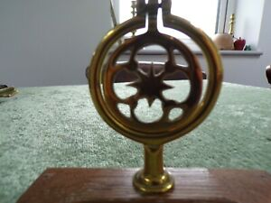 Swinger Vintage Star Horse Brass Harness Decoration On Wooden Base