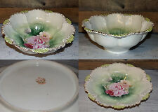 Antique RS Prussia Large Serving Bowl Wht Green Pink Ribbed Mold Floral Detail