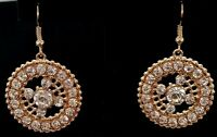 """Silver Crystal Dangle Earrings Circle Gold Plated 1.25"""" Bridal Formal Prom Gift"""