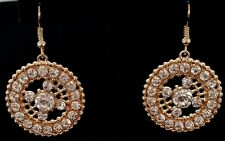 "Silver Crystal Dangle Earrings Circle Gold Plated 1.25"" Bridal Formal Prom Gift"