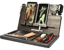 Cell Phone Stand And Watch Holder Organizer Dock Wood Ebony