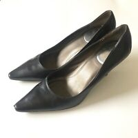Calvin Klein Womens Dress Pumps Size 5.5 M US Black Leather Pointed Toe Heels