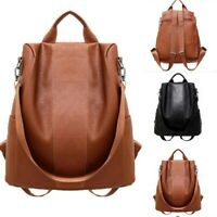 Women Ladies School Shoulder Backpack Rucksack Leather Anti-theft US Bag Handbag