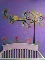 Removable owl swing flower tree wall decal kids nursery stickers decor art hot