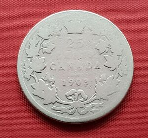 Canada Silver Coin , 25 Cents 1903 , (.925) , Edward VII , KM# 11