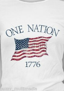 One Nation - 1776, American Flag T-Shirt, U.S.A., 4th of July, Small - 5X