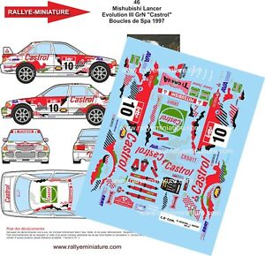 Decals 1/18 Ref 46 Mitsubishi Lancer Heckters Earrings Spa 1997 Rally
