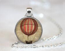 Hot Air Balloon Tibetan silver Dome Glass Art Chain Pendant Necklace #TUO292