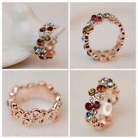 le donne bella regalo gioielli multicolore round fiore di anello elegante