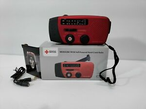 American Red Cross Microlink FR150 Self-Powered Hand-Crank Radio, Red