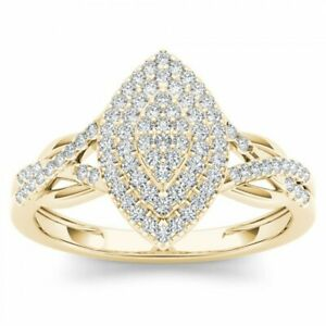 Gorgeous Jewellery Yellow Gold Plated Pave CZ Wedding Ring for Women Girl
