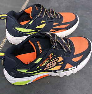 Boys Skechers Light Up Sneakers Orange/ Blue Size 2 Used