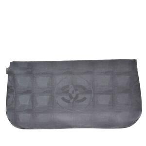 Auth CHANEL CC New Travel Line Pouch Hand Bag Jacquard Leather Black 60MI242