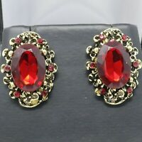4CT Oval Red Ruby Statement Earrings Women Jewelry Gift 14K Yellow Gold Plated