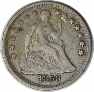 1858 Liberty Seated Silver Half Dime VF Uncertified
