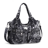 Ladies Punk Rock Travel Denim Rivet Shoulder Handbag Messenger Denim Bag Fashion