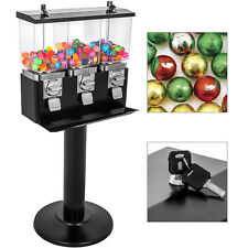 Triple Gumball Machine Candy Vending With Stand Bubble Gum Dispenser Bank Black