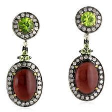 1.50ct Diamond Garnet Peridot 18k Gold Sterling Silver Dangle Earrings Jewelry