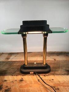 Modernist Art Deco Desk Lamp, 15-Inch Height, Black/Brass/Gold W/ Dimmer