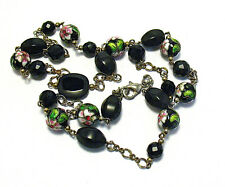 "SILVER BLACK GLASS CLOISONNE FLOWER BEAD NECKLACE 28"" LONG SYBOLL"
