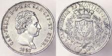 5 LIRE 1827 GENOVA CARLO FELICE 1821-1831 REGNO DI SARDEGNA ITALY #2412