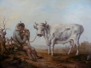 19th century oil  farmer and bull  country landscape scene After Aelbert Cuyp