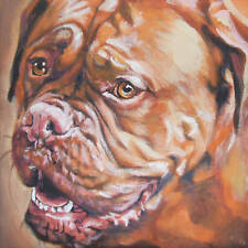 Dogue de Bordeaux portrait dog CANVAS PRINT of LAShepard painting LSHEP 12x12""