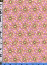 Fabric Miller FLORAL FUSION  RETRO 60s MOD DAISY pink lime OOP RARE