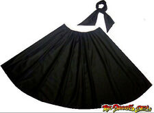 "Plus Size 22"" Black Full Circle Rock N Roll 1950s Skirt & Scarf"