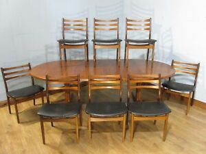 MID CENTURY VINTAGE RETRO DANISH 2 LEAF ROUND EXTENDING DINING TABLE & 8 CHAIRS
