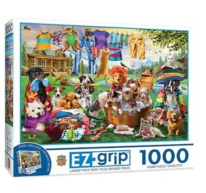 EZ Grip 1000 XL-Pieces Puzzle Masterpieces NEW 34 in x 23 in,LAUNDRY DAY RASCALS